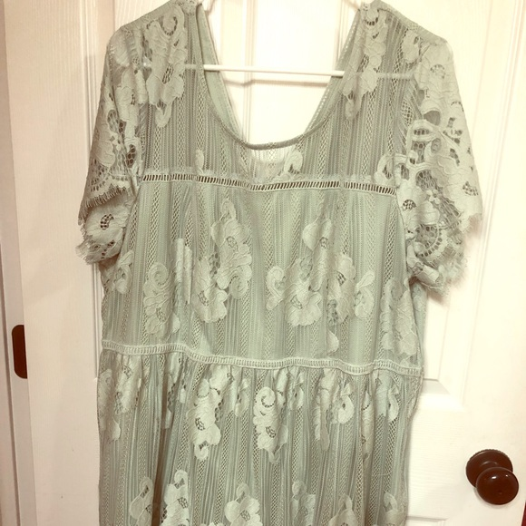 Plus Size Mint Green Lace Dress